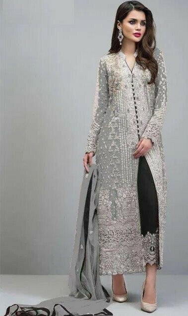 Wedding Wear Grey Color Embroidery Work Salwar Suit
