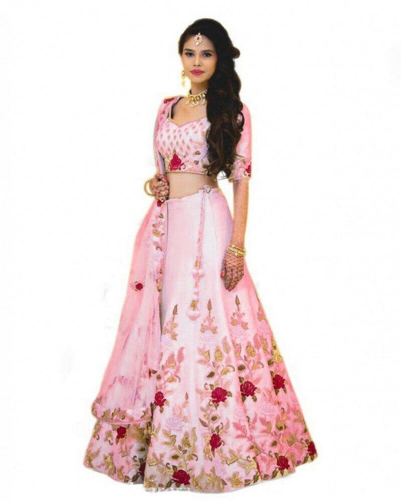 Wedding Wear Light Pink Lehenga Choli