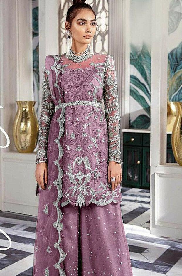 Wedding Wear Light Purple Color Net Sharara Suit