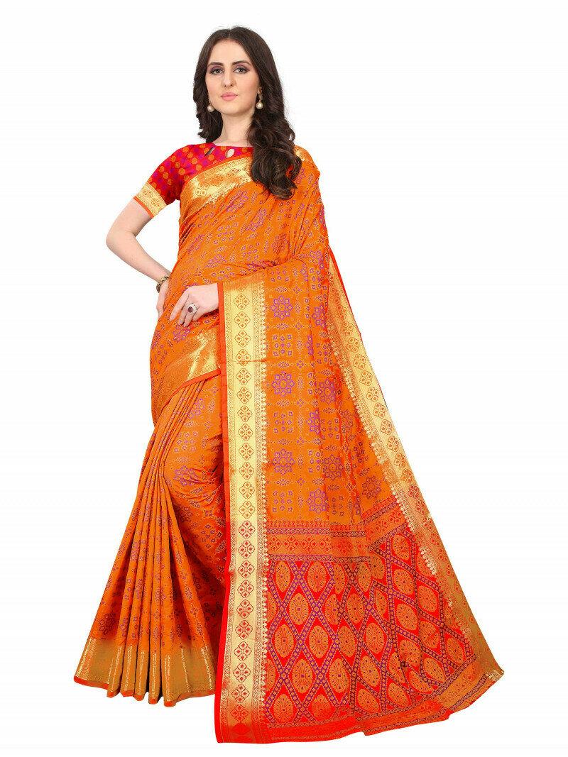 Wedding Wear Orange And Red Multi Color Saree