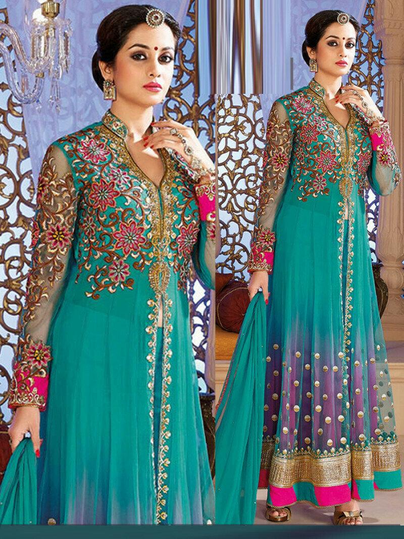 Wedding Wear Rama Colour Long Gown