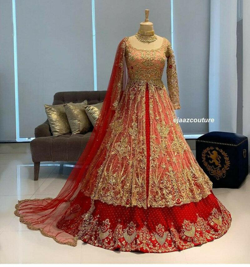 Wedding Wear Red Long Gown