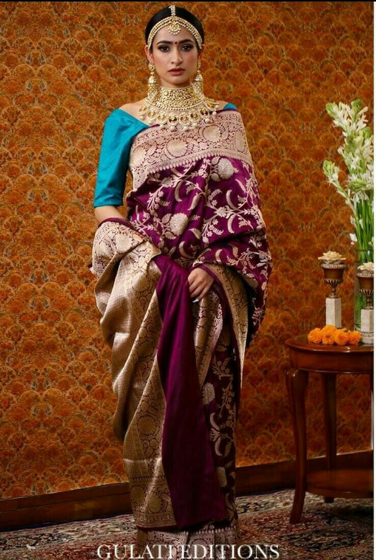 Wedding Wear Wine Simple Saree