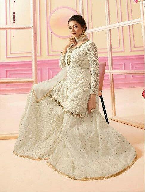 White Color Heavy Net Party Wear Sharara