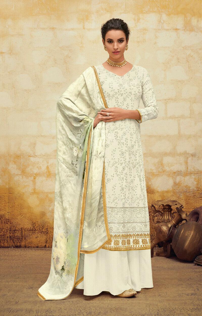 White Color Heavy Palazzo Suit
