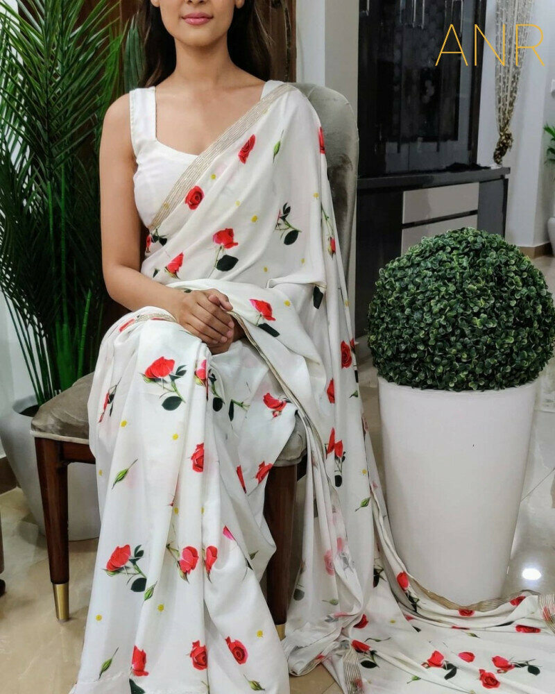 White Color Printed Saree