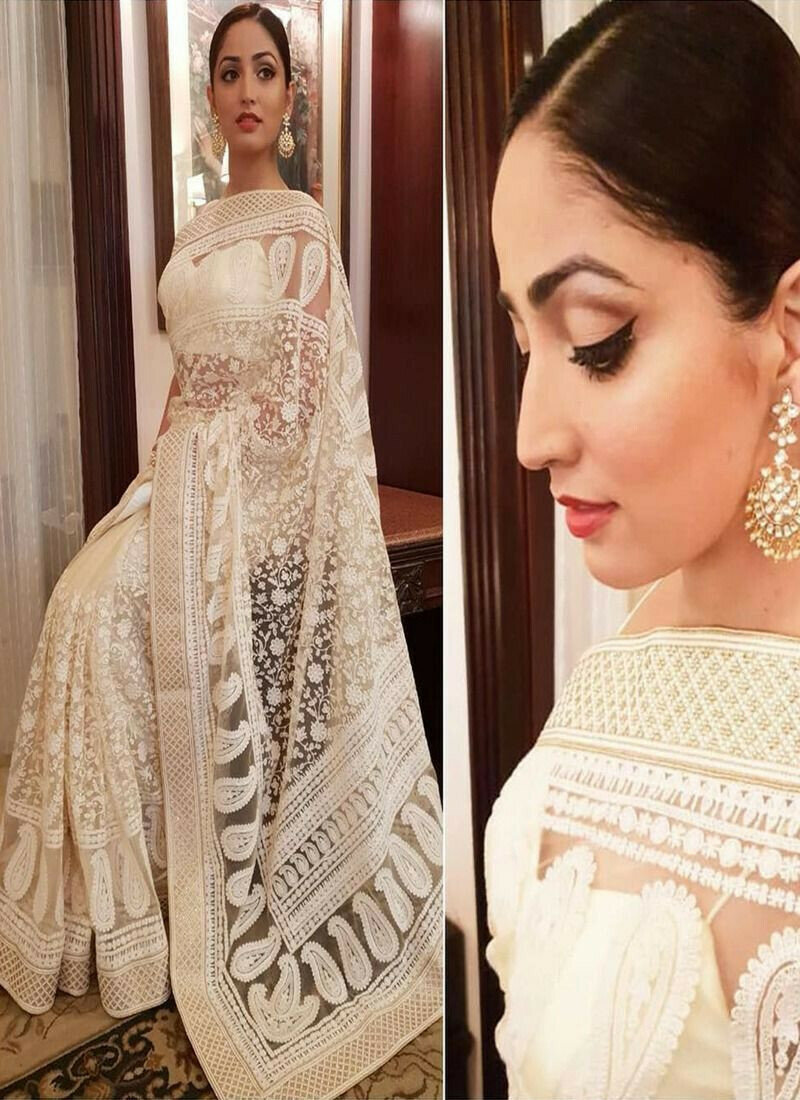 White Fancy Thread Work Designer Saree With Blouse SN 587