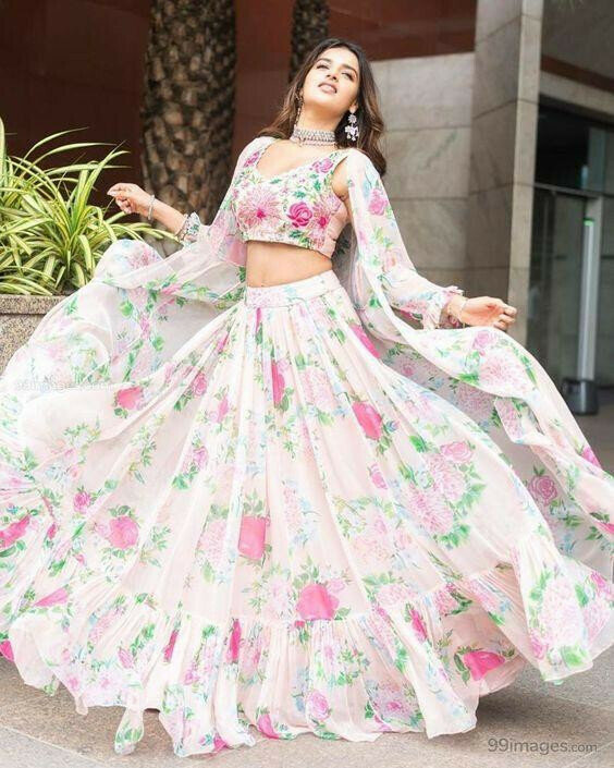 white Indian Trending Butterfly silk Lehenga Choli Outfit 2019