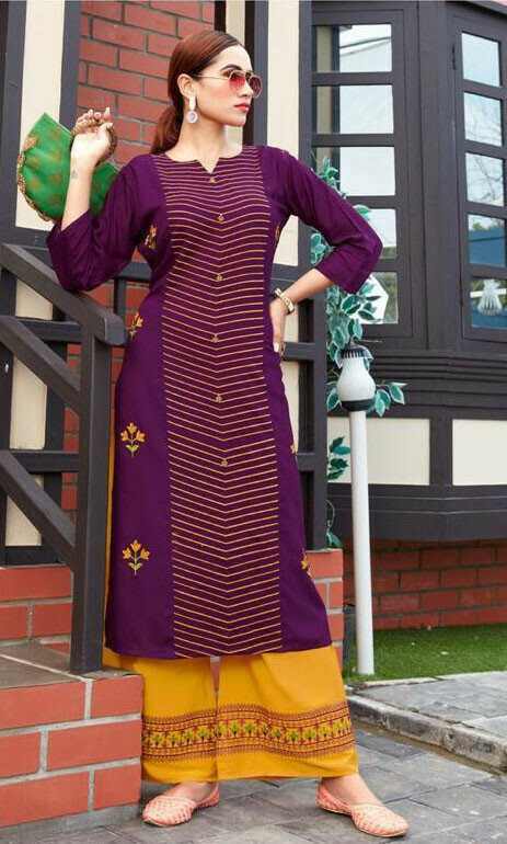 Wine Coloe Embroidery Work Palazzo Suit