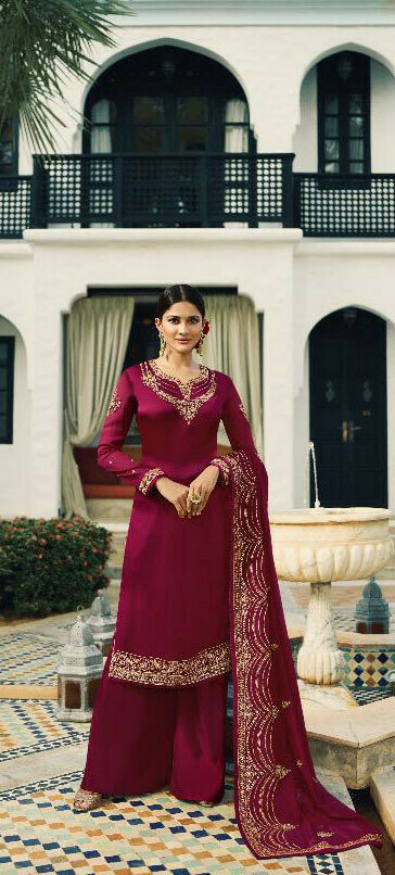 Wine Coloue Embroidery Work Salwar Suit