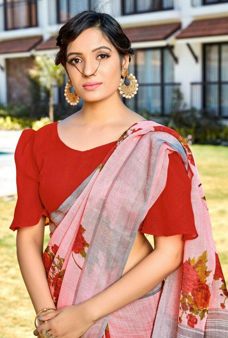 Women Beautiful Silver Zari Border Digitel Print Pure Linen Saree (Pink)