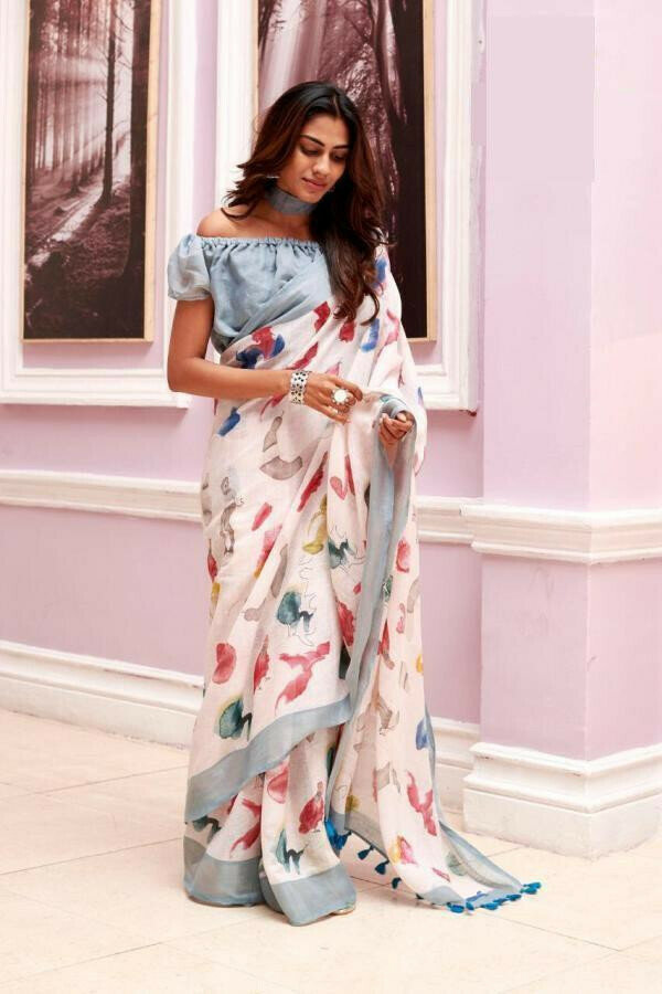 Women Beautiful Silver Zari Border Digitel Print Pure Linen Saree (White)