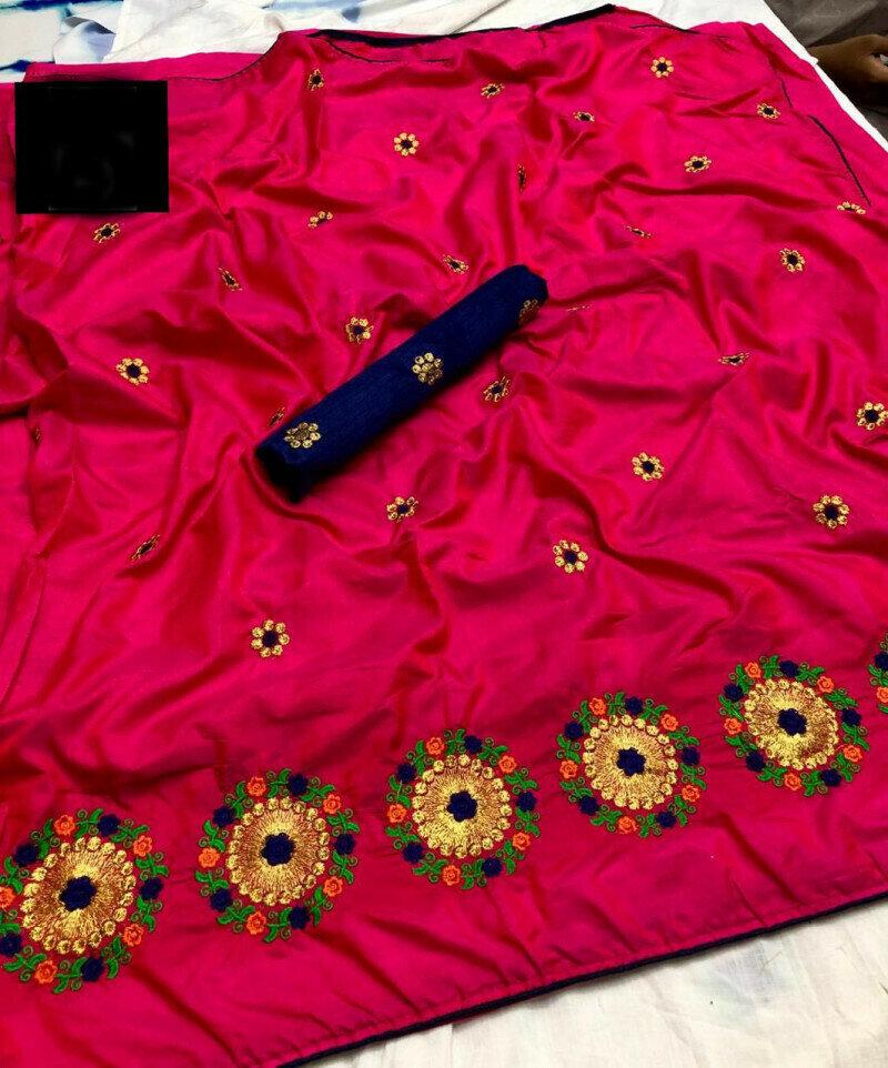 women Embroidery Zari With Multi Thread Work Silk Saree(Pink color)