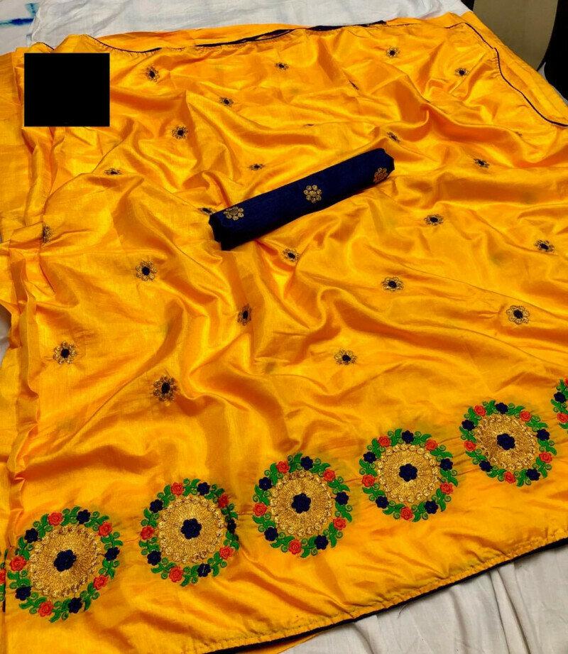 Women Embroidery Zari With Multi Thread Work Silk Saree(yellow color)
