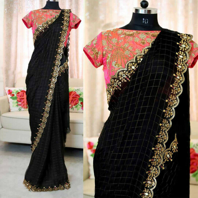 Women Heavy Chanderi Cotton Embroidered With Pearl Work Saree (Black Color)