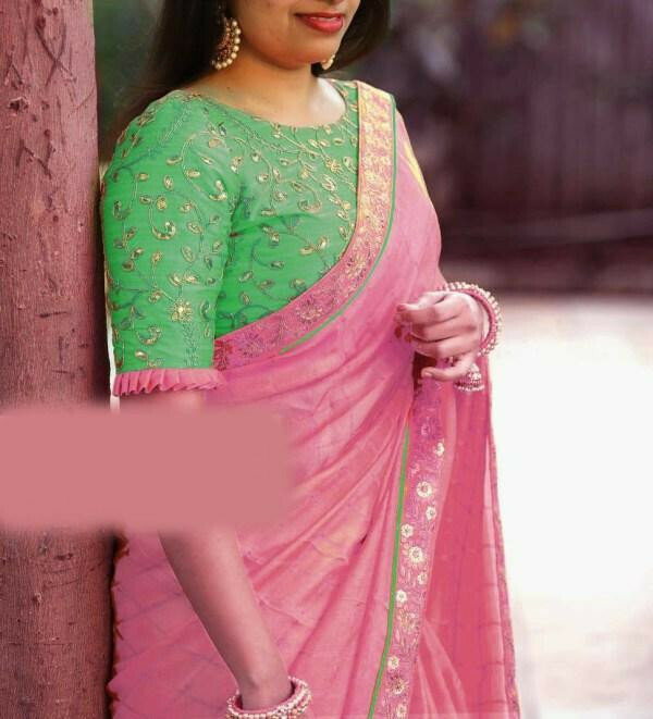 women Heavy Cotton Chex With Coding & Sequance Embroidery Work Designer Pink Saree