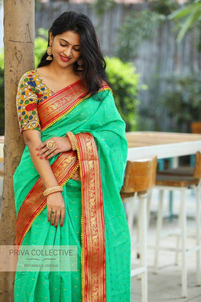 Women Heavy Cotton Model Butty Zaquerd Lace Designer Saree (Sea Green)