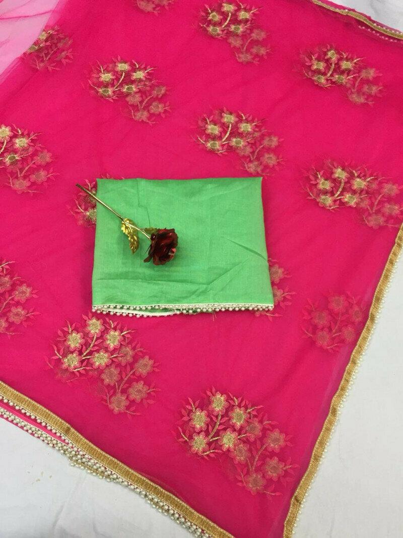 women Heavy Mono net with Embroidery & Pari Lace Designer Red Saree