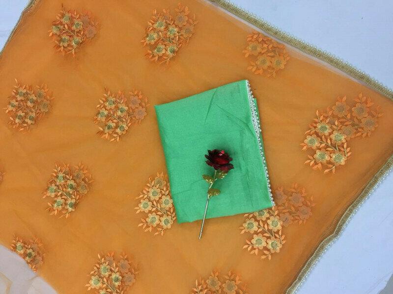 women Heavy Mono net with Embroidery & Pari Lace Designer Saree (Orange)