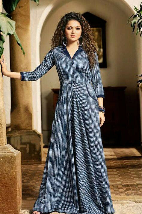 Women Latest Designer blue coloured Cotton party wear Kurtis