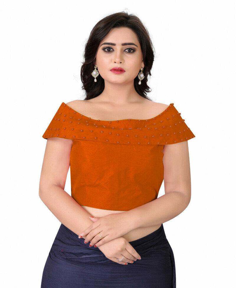 Women Orange Color Boat Neck Party Wear Blousse