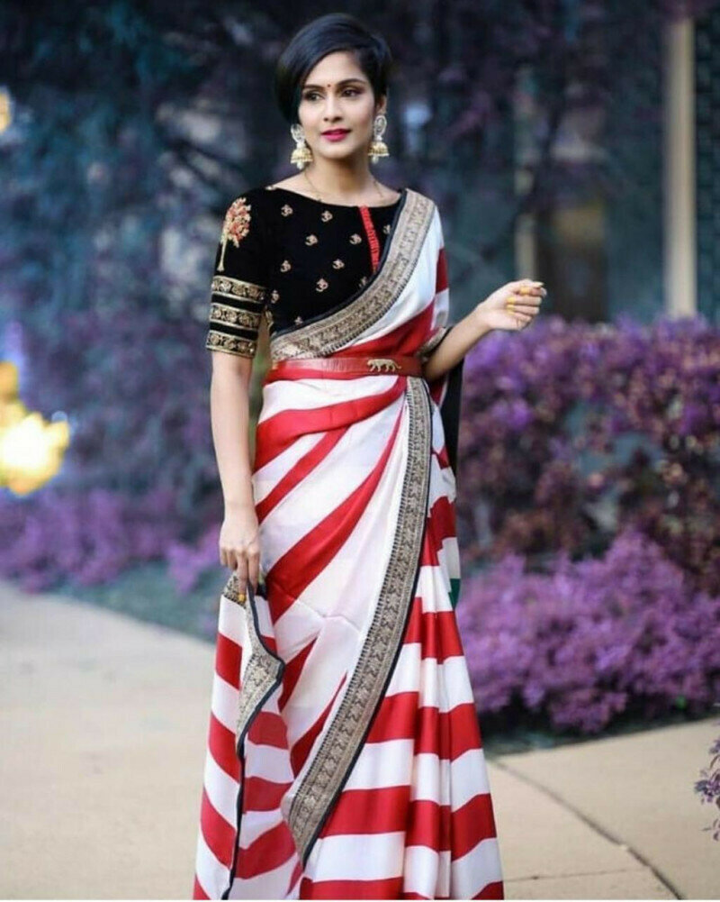Women Printed Georgette  With Heavy Embroidery Lace Saree (White & Red Colour)