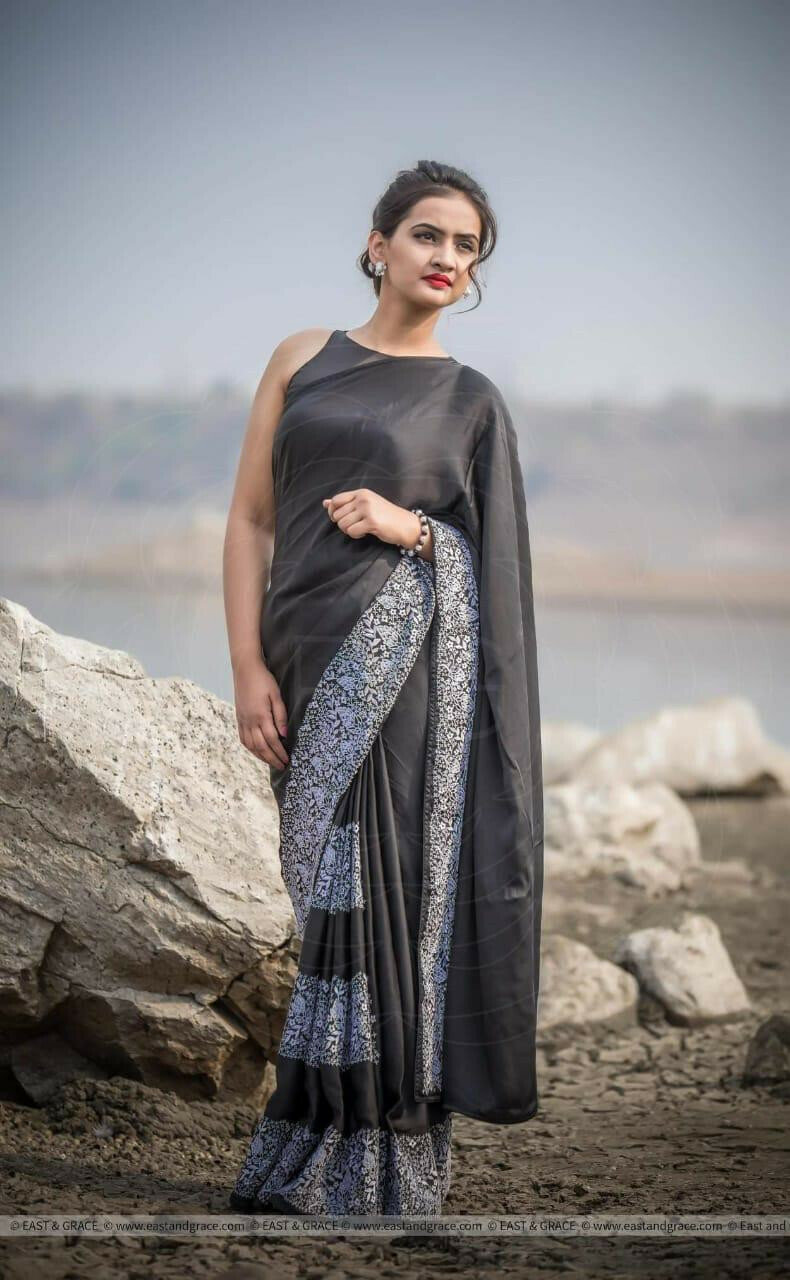 women Rangoli silk With Heavy Embroidery Work Part Wear saree (Black)