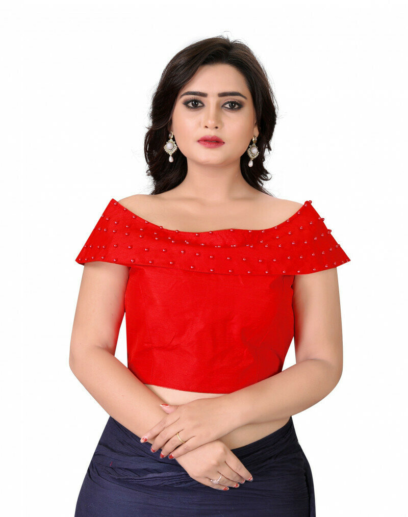 Women Red Color Boat Neck Party Wear Blouse