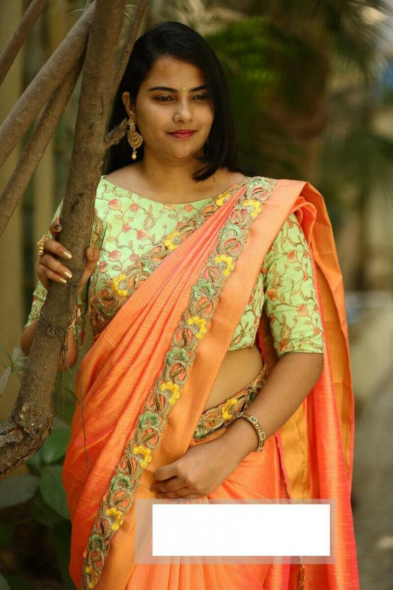 Women Sonata Silk Embroidery Work Party Wear Saree (Orange)