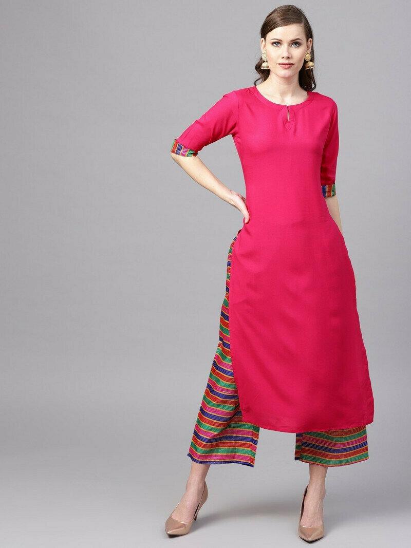 Women Stylish Designer Pink Rayon Kurtis With Plazzo