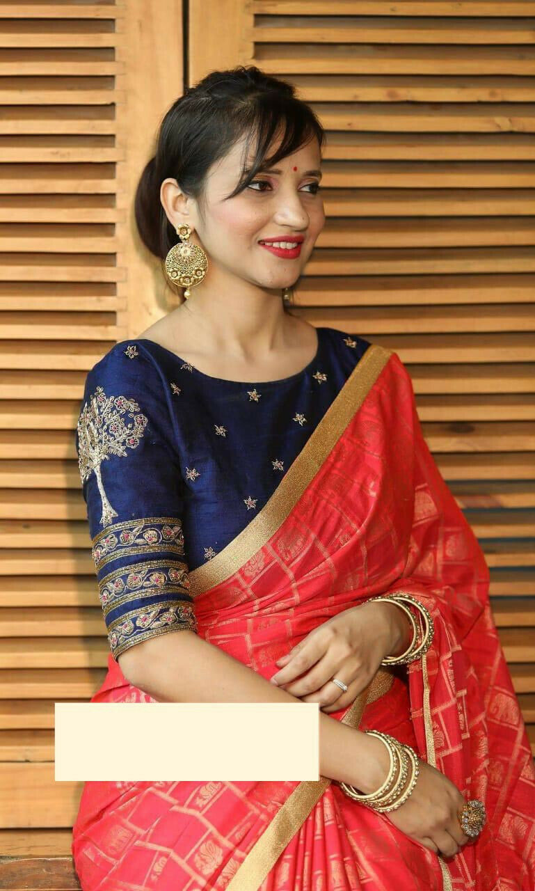 Women Top Dyed Silk Zequerd Coding Embroidery Work Party Wear Saree (Red)