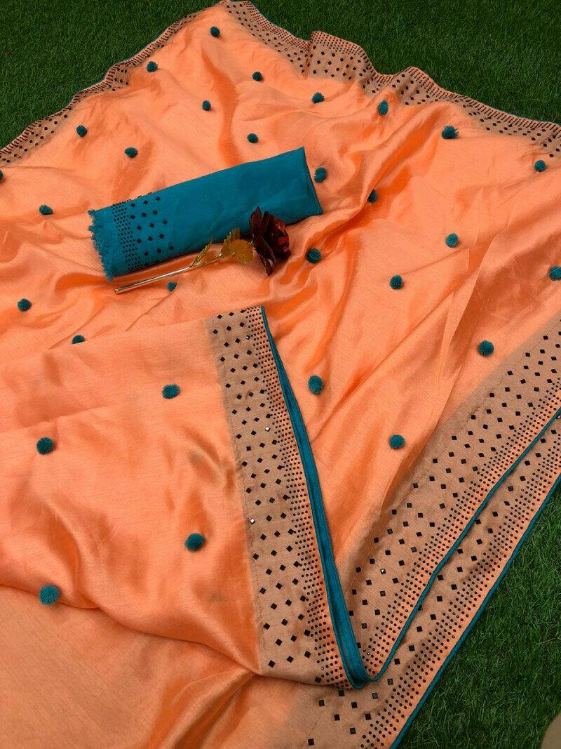 Women Zoya Silk With Diamond Work Border Designer Party Wear Saree (Orange)