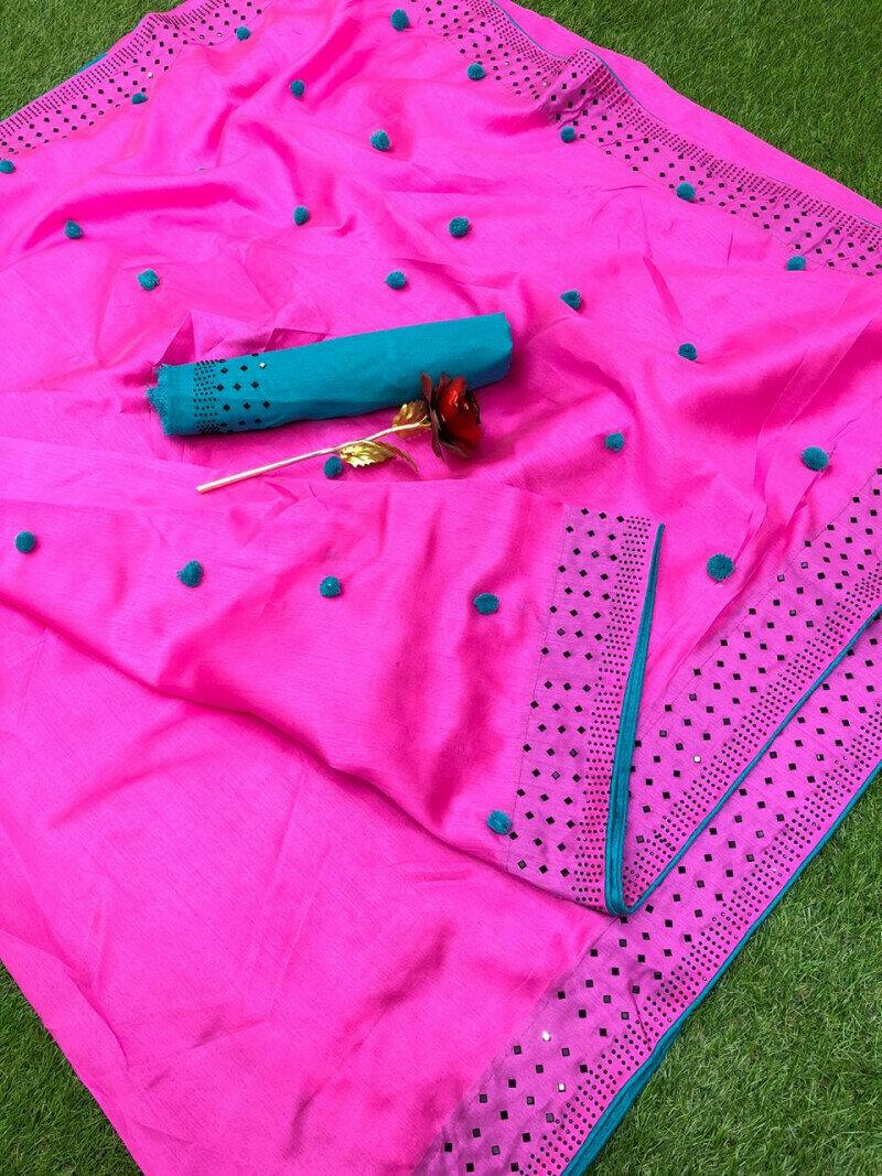 Women Zoya Silk With Diamond Work Border Designer Party Wear Saree (Pink)
