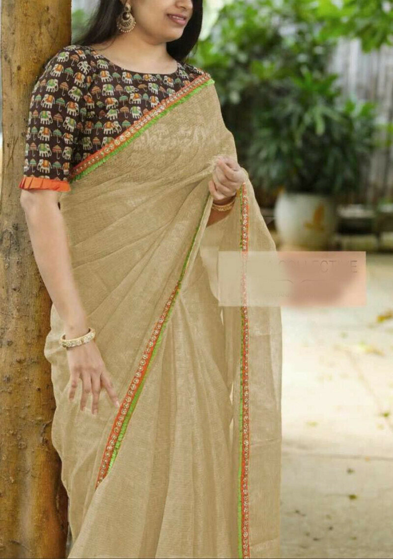 Womens Heavy Cotton Super Net With Embroidery Rediment Lace Saree (Off White)