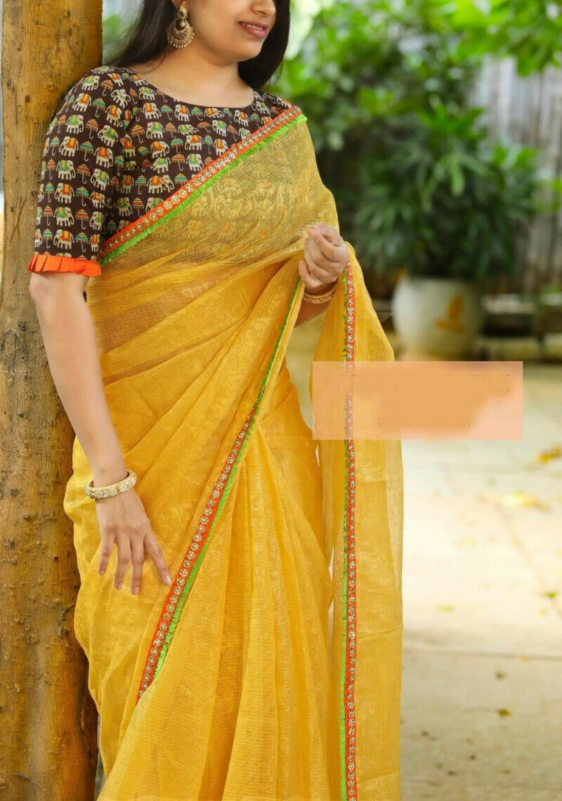 Womens Heavy Cotton Super Net With Embroidery Yellow Saree