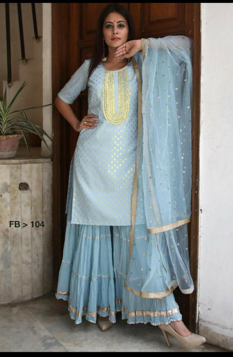 Women's Heavy Design Sky Blue Color Sharara Suit