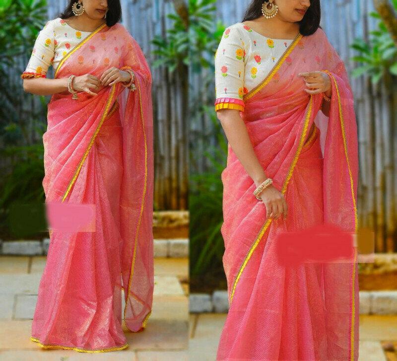 Womens Heavy Manipur Cotton & Rediment Lace Saree (Pink)