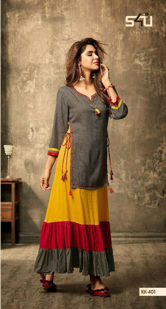 Women's New Stylish Designer dark grey & yellow coloured Heavy Rayon party wear Kurti