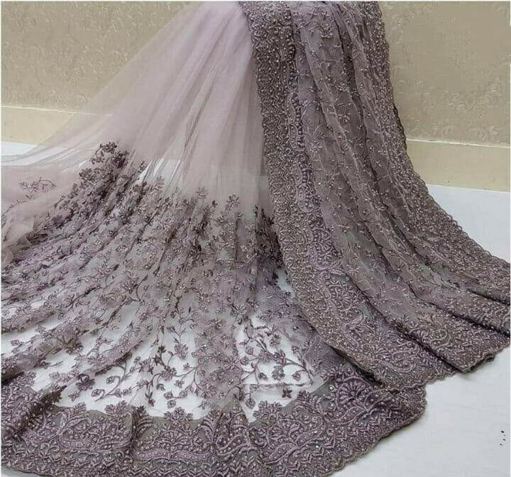 Wondrous Onion Nylon Net With Embroidered Work Designer Saree