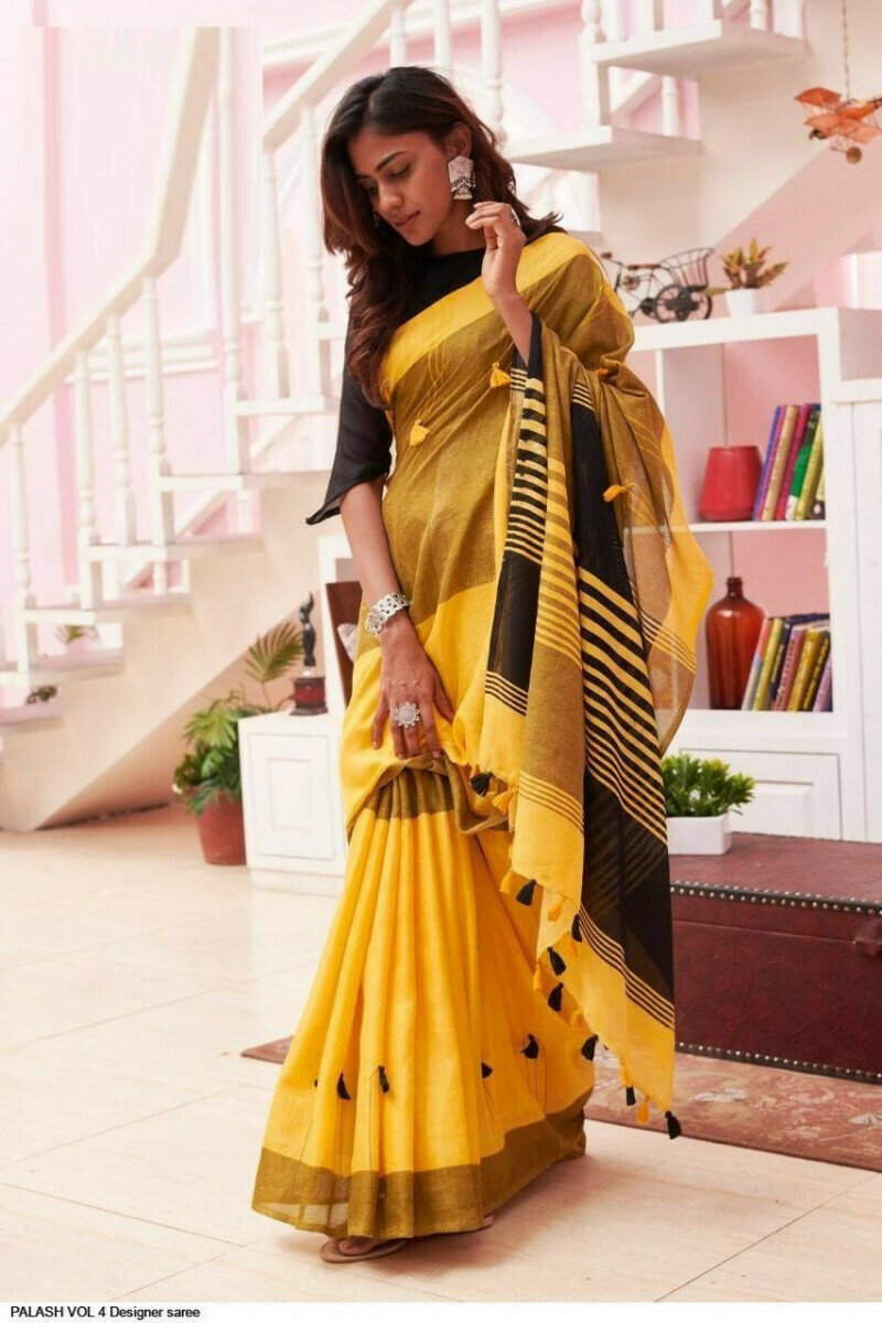 Yellow & Black Colored Party Wear Linen Printed Saree For Women Online