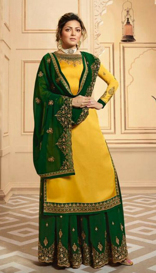 Yellow & Green Colored Silk Embroidary Work Plazzo Kurti