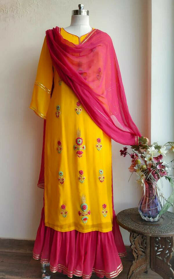 Yellow And Pink Color Palazzo Suit