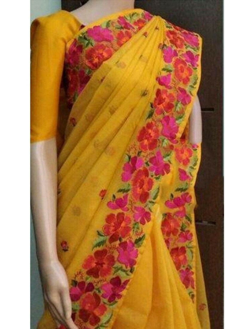 Yellow Chanderi Fancy Saree Collection