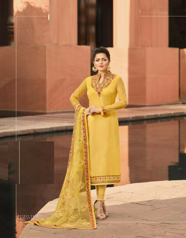 Yellow Color Georgette Salwar Suit