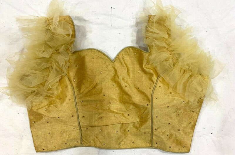 Yellow Color Wedding Wear Blouse