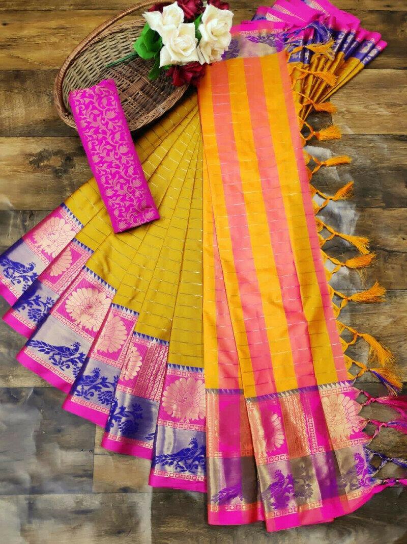Yellow Colour Jacquard Saree