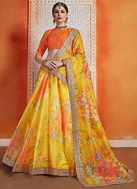 Yellow Embroidered A Line Lehenga