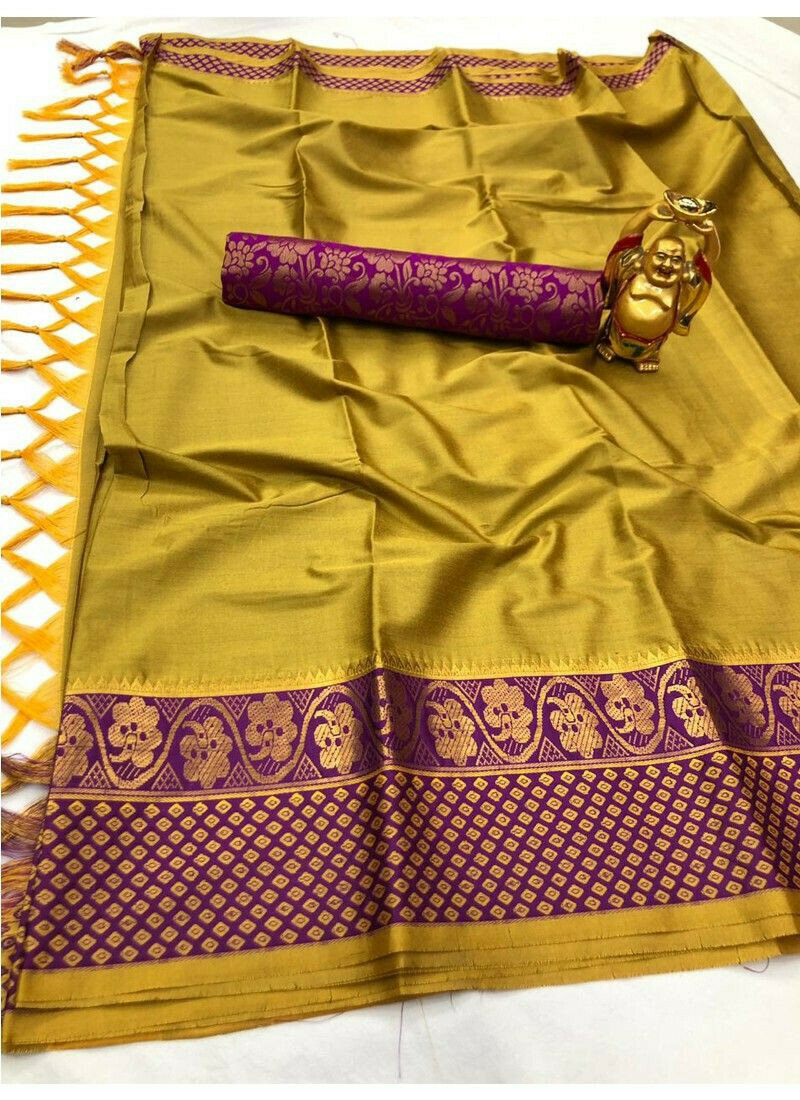 Yellow Kanjivaram Cotton Silk Saree