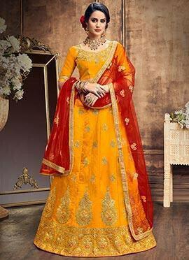 Yellow Silk A Line Lehenga