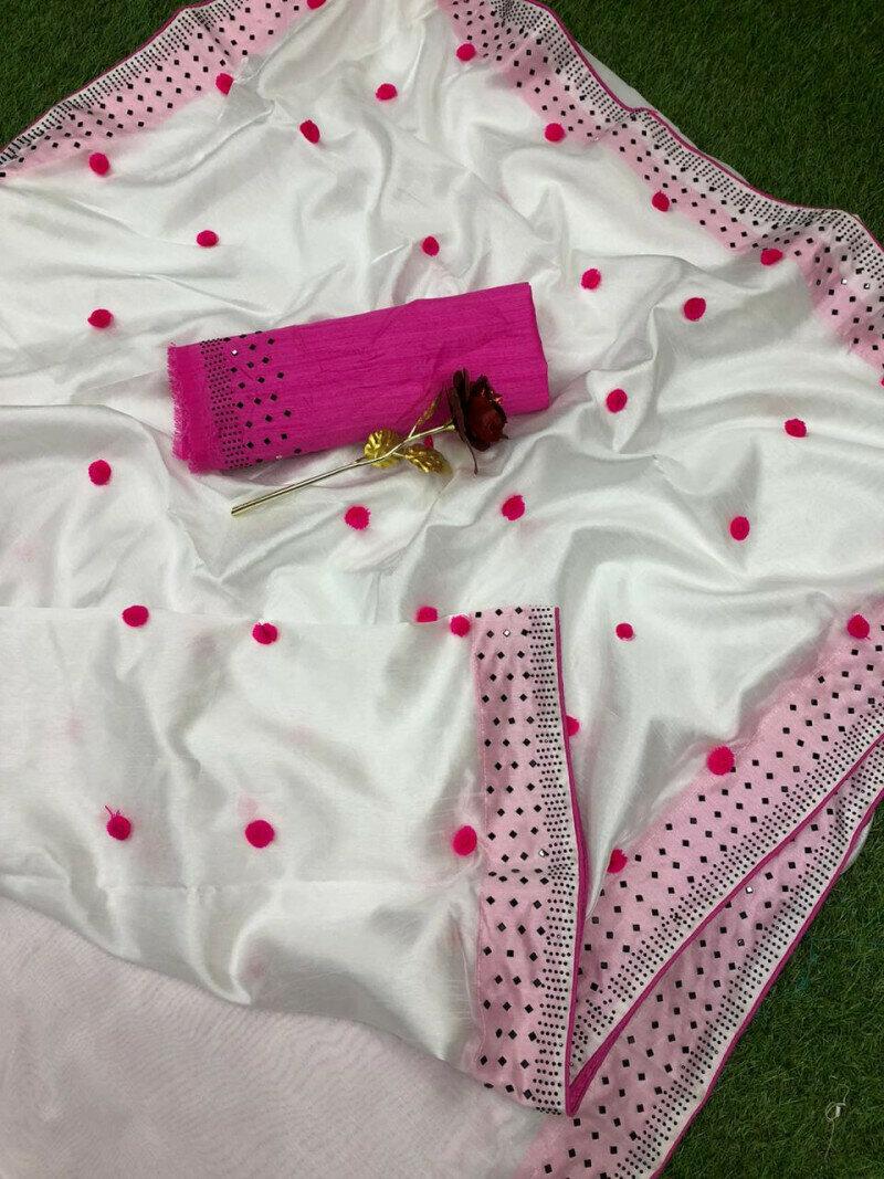 Zoya Silk With Diamond Work Border Designer Party Wear Saree (White)